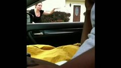 Black dude in car flashing dick to a white woman and masturbating