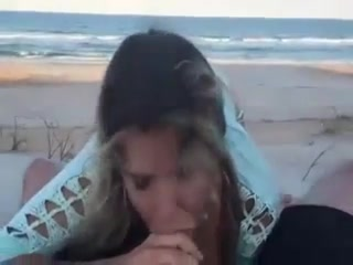 blowjob facial in public - Sex at the beach with amateur wife with blowjob and cum on face