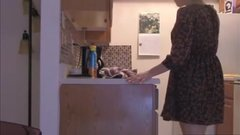Horny mom masturbating and getting orgasm in the kitchen