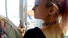 Fucking on balcony with girlfriend
