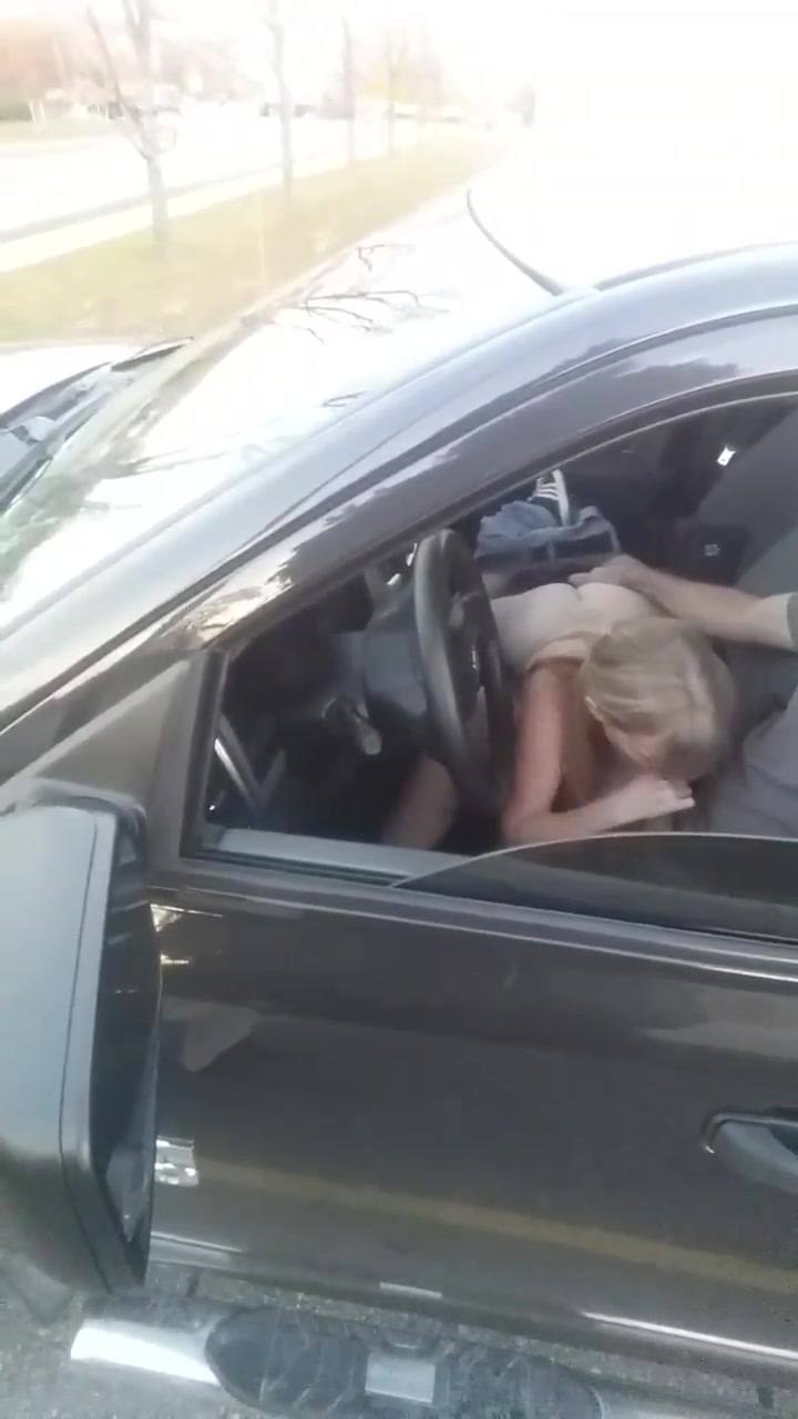my wife naked on car